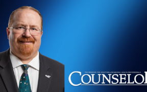 Pete Nielsen, against a blue background, and the Counselor logo on the lower right