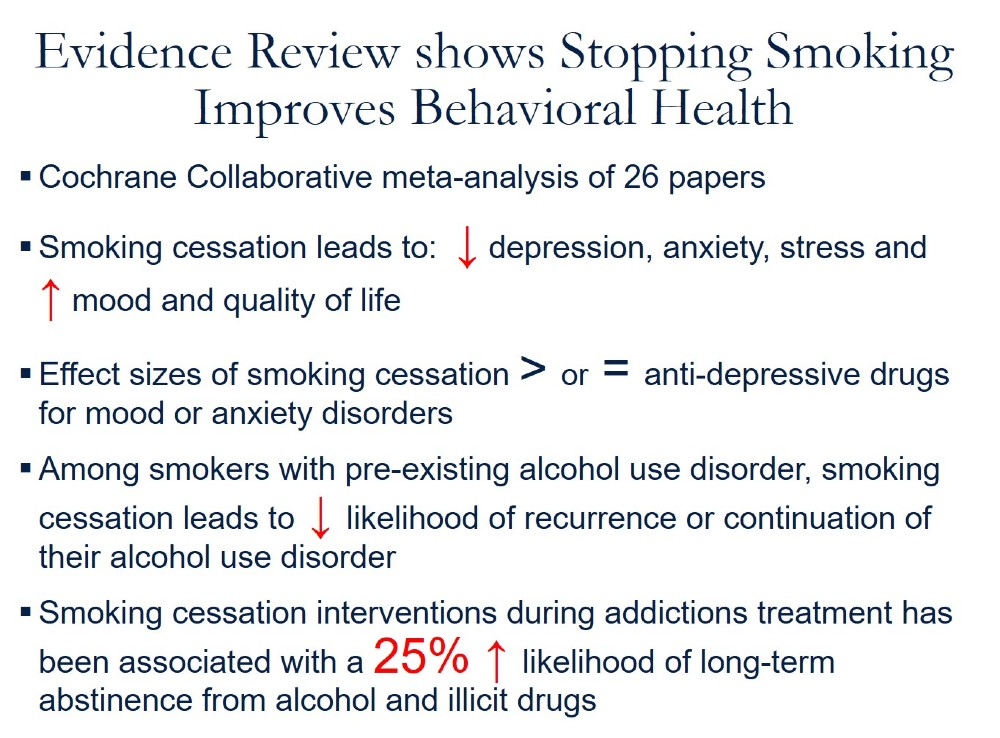 Evidence Review shows Stopping Smoking Improves Behavioral Health. Cochrane Collaborative meta-analysis of 26 papers. Smoking cessation leads to: (down arrow) depression, anxiety, stress and (up arrow) mood and quality of life. Effect sizes of smoking cessation > or = anti-depressive drugs for mood or anxiety disorders. Among smokers with pre-existing alcohol use disorder, smoking cessation leads to (down arrow) likelihood of recurrence or continuation of their alcohol use disorder. Smoking cessation interventions during addictions treatment has been associated with a 25% (up arrow) likelihood of long-term abstinence from alcohol and illicit drugs.